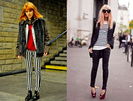monotone strip print fashion street snap